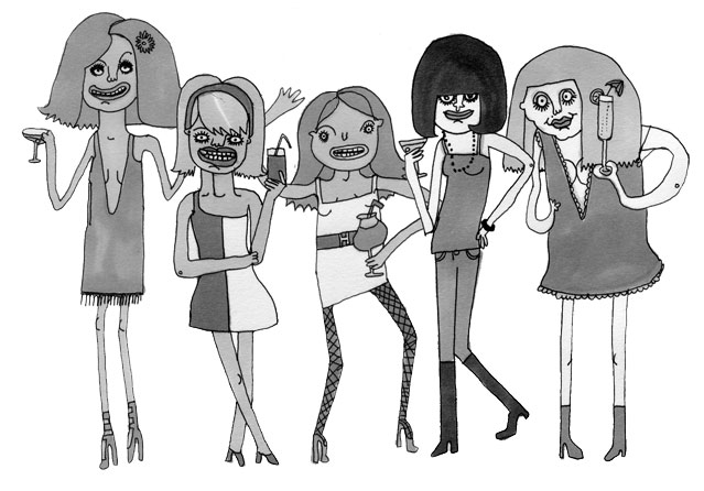 Party girls with cocktails black and white illustration claire murray