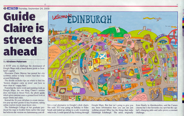 Cutting of Metro Paper illustration claire murray map