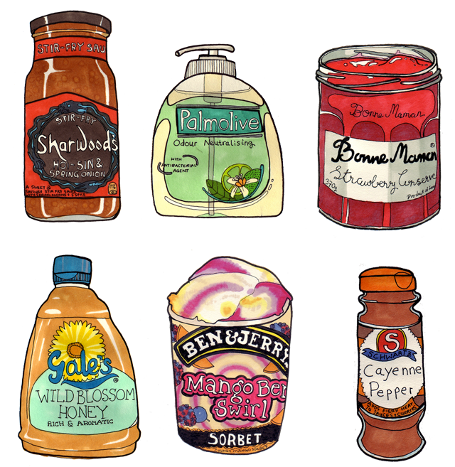 illustration of various products