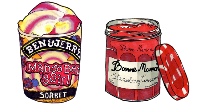 ben and jerrys and bonne mamman ham illustration by claire murray