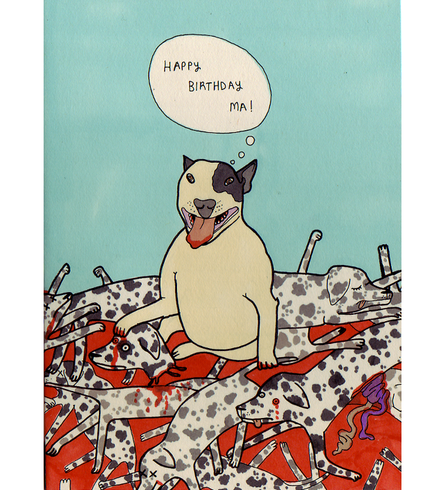 claire murray illustration happy birthday minature bull terrier