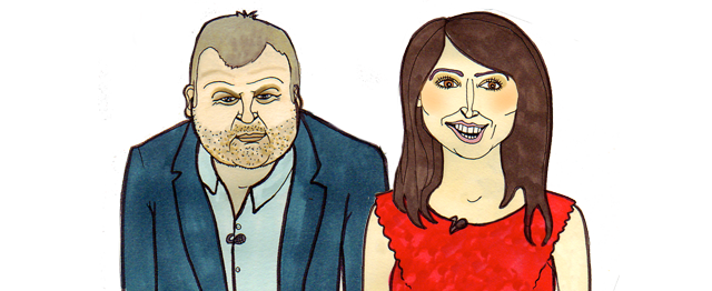 Christine and Adrian from the one show illustration portrait claire murray