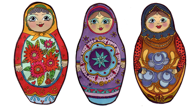 Russian Dolls illustration claire murray