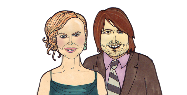 Nicole Kidman and Keith Urban illustration portrait by claire murray